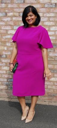 Simplicity 8292 flutter sleeve sheath dress in fuschia pink triple crepe
