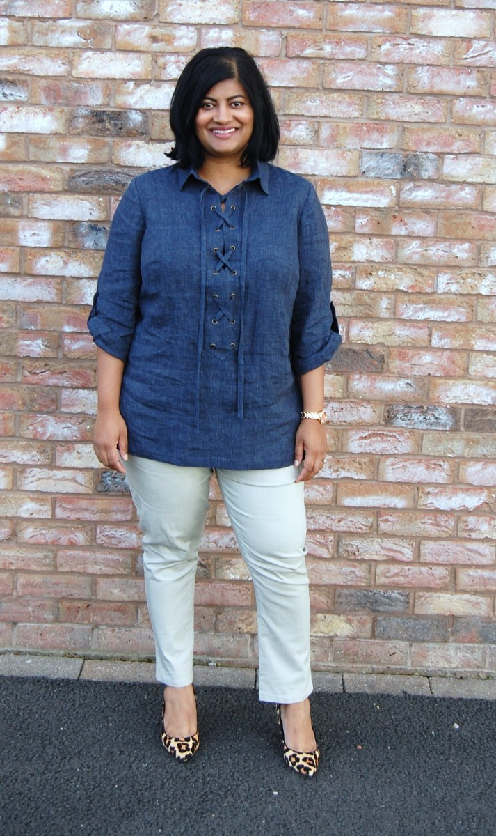 Simplicity 8295 and Closet Case Patterns Ginger Skinny Jeans: DIY Linen Lace Up Eyelet Tunic and Skinny Jeans