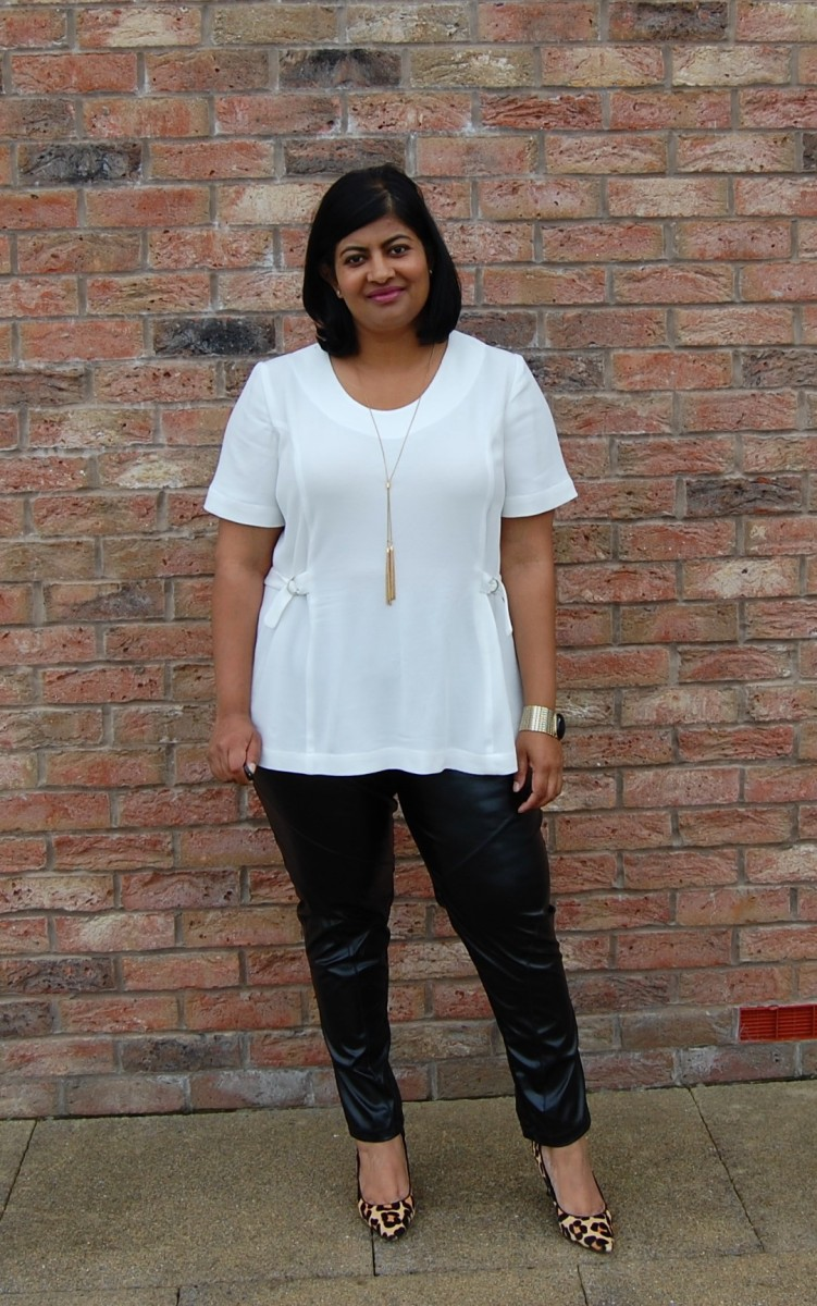 Pauline Alice Faura Top and Vogue 1411: DIY white crepe tunic top and black faux leather leggings