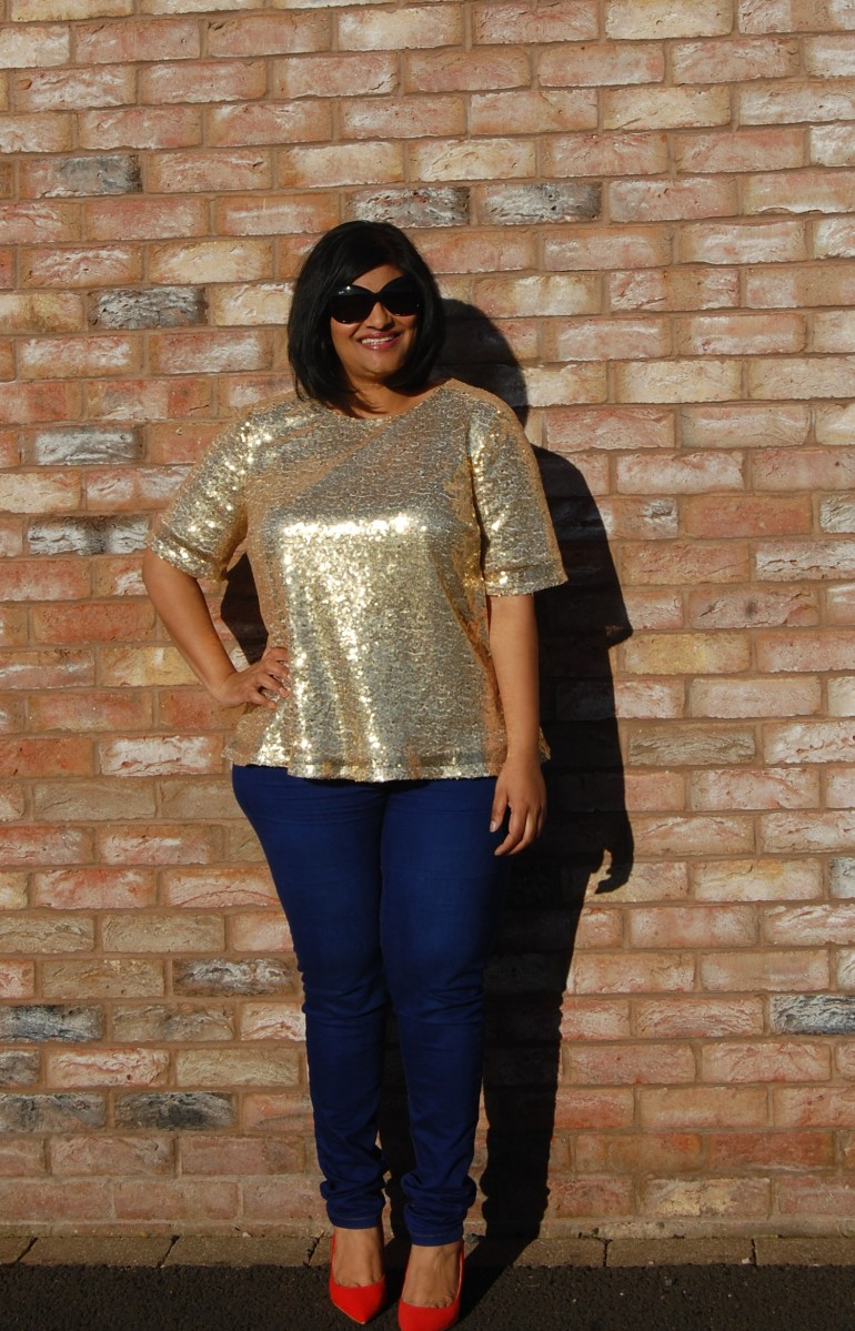 Butterick 6157: DIY gold sequin woven tee top