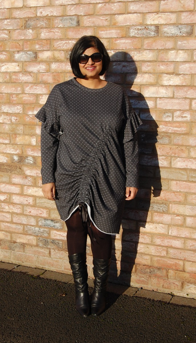 McCalls 7688: DIY Sweatshirt Dress Featuring Custom Printed Fabric from CottonBee