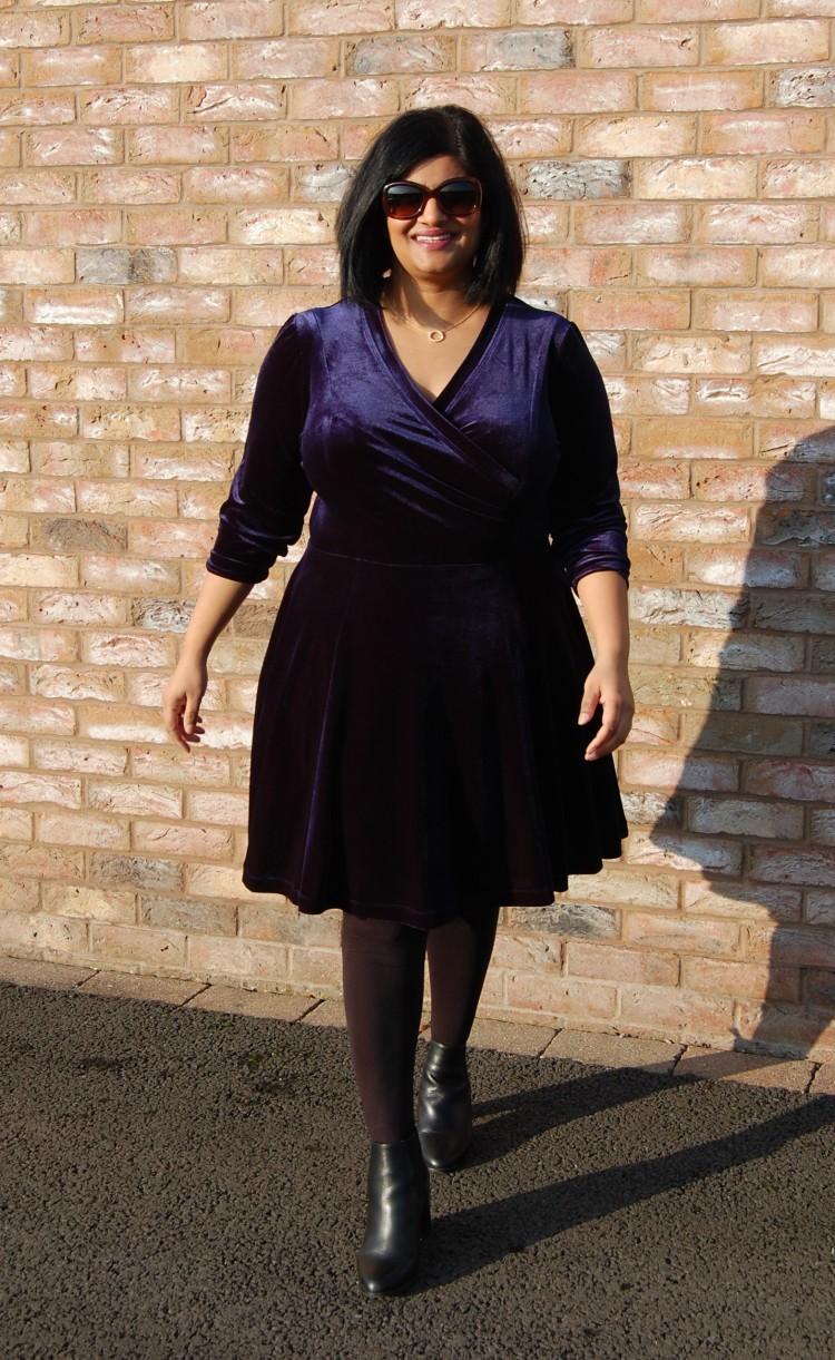 0ae5cb1319 Pauline Alice Aldaia Dress  DIY Blue Stretch Velvet Wrap Bodice Fit ...
