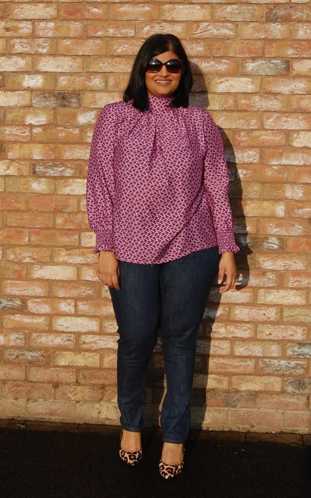 Vogue 9285 high necked silk blend blouse with shirred cuffs