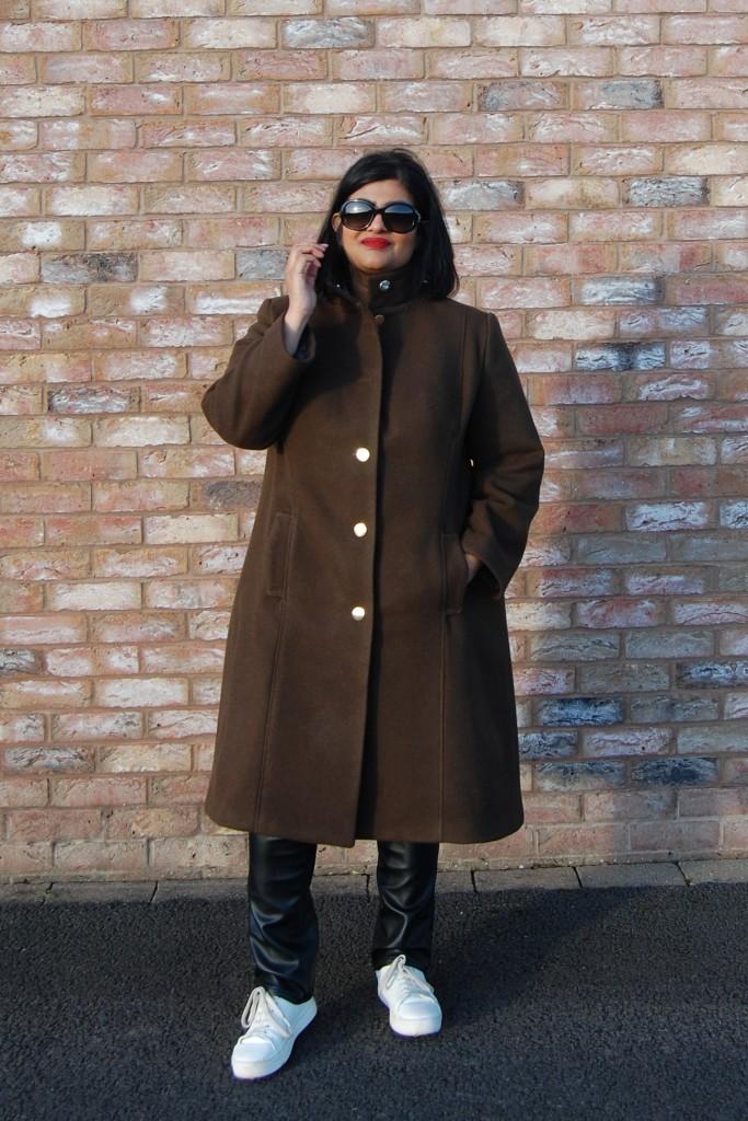 Butterick 6385 funnel neck heavy wool coat