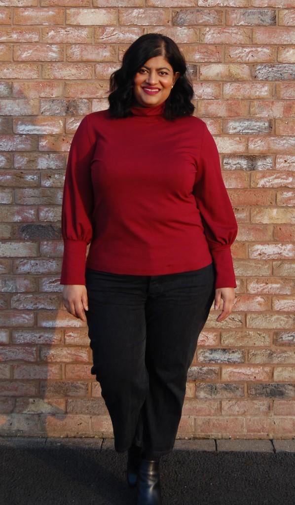 Simplicity 8982 ponte knit bishop sleeve barrel cuff turtleneck top