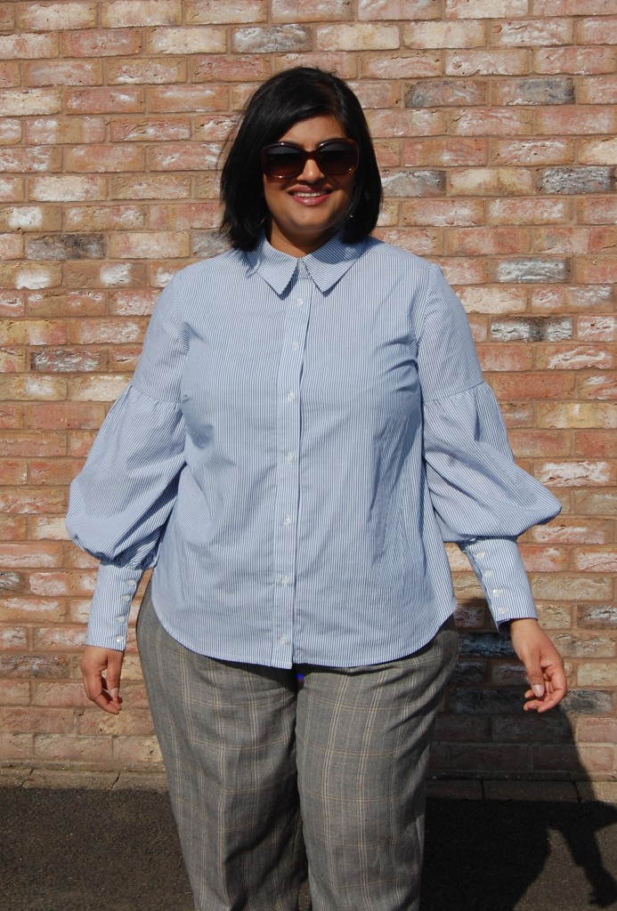 McCalls 7838 button up shirt with full sleeve and deep cuff
